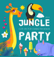 jungle patry exotic animals design template vector image vector image