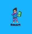 logo smart mascot cartoon style vector image