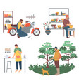 man cooking hunting and pottery pots making hobby vector image