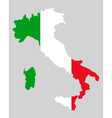 Map and flag of Italy vector image vector image