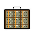 open briefcase with bundles of different banknotes vector image vector image