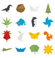 origami icons set flat vector image