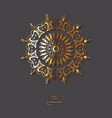 ornamental golden flower mandala on grey color vector image