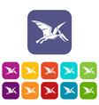 pterosaurs dinosaur icons set flat vector image vector image