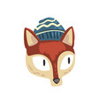 red fox animal wearing blue knitted winter hat vector image vector image