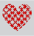 red puzzle heart pieces - jigsaw - field chess vector image vector image