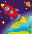 rocket flies into space vector image vector image