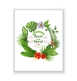 Save the date card with tropical wreath vector image vector image