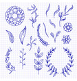 set of hand-drawn doodle elements and seamless vector image vector image