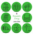 set of renewable energy line icons vector image