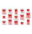 set present boxes flat lay top view on vector image