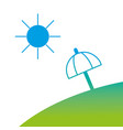 silhouette island with sun weather and umbrella vector image vector image