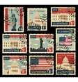 stamps with united states america landmarks vector image vector image