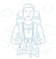 Traveler with backpack vector image vector image