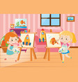 two girls drawing on canvas in room vector image vector image