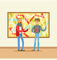 two men standing in modern art gallery and vector image vector image