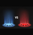vs versus battle glowing podiums for fighters vector image vector image