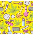 weed kawaii cartoon seamless pattern vector image