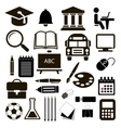 Black icons education set on white vector image