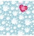 Ruby heart among diamonds seamless pattern vector image