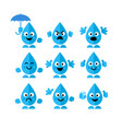 set collection of emotions water drop characters vector image