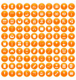 100 sweets icons set orange vector image vector image