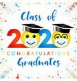 2020 graduation social distanse emoji vector image vector image