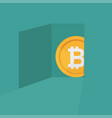 a bitcoin symbol coming out of door crypto vector image vector image