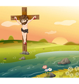 A cross at the riverside vector image