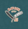 barbershop badge label logo razor emblem vector image vector image