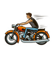 biker rides a motorcycle motorbike transport vector image vector image