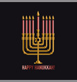 bronze hanukkah menorah with burning candles vector image