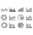 business statistics outline icon set vector image vector image