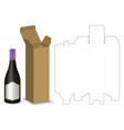 carton box dieline for bottle package mockup vector image