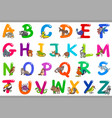 cartoon alphabet with happy animal characters vector image vector image