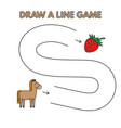 cartoon horse draw a line game for kids vector image vector image