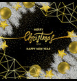 Christmas and new year card with gold geometric