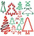 Christmas tree from ribbons and circles vector image