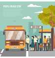 City Bus Stop Flat Poster vector image
