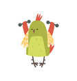 cute bird exercising with dumbbells funny athlete vector image vector image