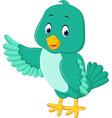 cute green bird cartoon vector image