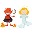 Devil with trident and angel flying vector image vector image