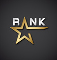 EPS10 rank golden star inscription icon vector image vector image