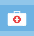 first aid briefcase emergecy flat design on blue vector image vector image
