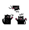 funny black cats say hello when they meet funny vector image