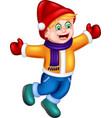 funny boy in yellow jacket cartoon vector image vector image