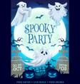 halloween ghosts bats and pumpkins on graveyard vector image vector image