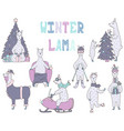 hand-drawn set of cute colorful winter lamas vector image