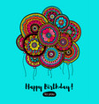 happy birthday card with balloons indian pattern vector image vector image