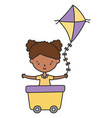 happy little girl cartoon character in wagon vector image
